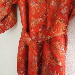 NWOT VINTAGE Solz Squirrel Red Satin Kimono Robe